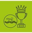 silhouette person swimm winner sport vector image vector image