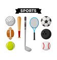 sports equipment set icons vector image