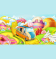 sweet candy land ice cream truck 3d background vector image vector image