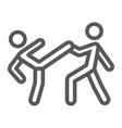 taekwondo line icon sport and martial fighters vector image