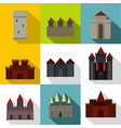 towers and castles icon set flat style vector image vector image