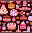 valentine day sweet pattern with different cupcake vector image vector image