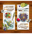 vertical banners mediterranean cuisine one wood vector image vector image