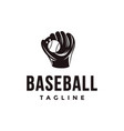 vintage baseball logo with catchers mitt and ball vector image vector image