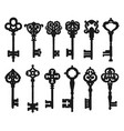 vintage isolated black key silhouettes vector image
