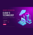 webpage design about cloud database technology vector image vector image