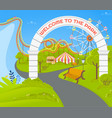 welcome to park empty place with attractions vector image