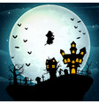witch flying on a halloween celebration vector image vector image