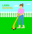 woman lawn mowing trimmer concept background flat vector image vector image