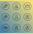 work icons line style set with setting faq vector image vector image