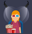 young woman with glasses 3d and cinema icons vector image