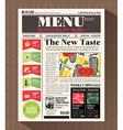 Restaurant Menu Design Template in Newspaper style vector image