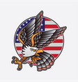 american eagle flag logo vector image