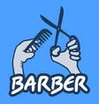 barber emblem vector image vector image