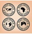 black post stamps with map of the world vector image vector image