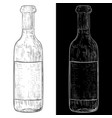 bottle of wine with blank label hand drawn sketch vector image