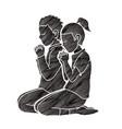 boy and girl praise god prayer christian praying vector image vector image