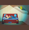 boy sleeping in bedroom vector image