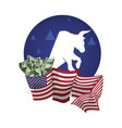 bull wall street money flag usa vector image
