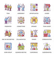 business people flat icons set team collaboration vector image