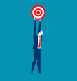 businessman holding target to success vector image