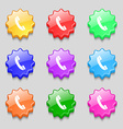 Call icon sign symbol on nine wavy colourful vector image vector image