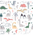 cartoon seamless pattern with dinosaurs and palm vector image