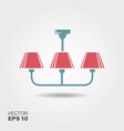 chandelier flat icon with shadow vector image vector image