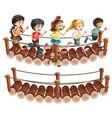 children running across the wooden bridge vector image vector image