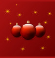 christmas toys on a red background vector image vector image