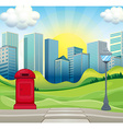 City scene with office buildings and park vector image vector image
