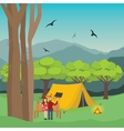couple camping in forest man and woman with fire vector image vector image
