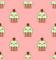 cute cupcake seamless pattern with kawaii faces vector image
