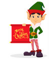 elf holding scroll with greetings vector image