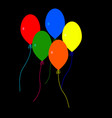 five colorful balloons vector image