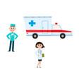 flat doctor surgeon ambulance car set vector image vector image