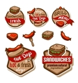 food logos and emblems set vector image vector image