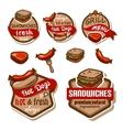 food logos and emblems set vector image vector image