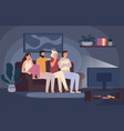 friends watching horror movie together scared vector image vector image