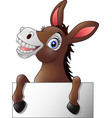 funny donkey with blank sign vector image vector image