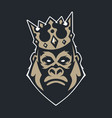 gorilla in crown mascot icon vector image