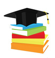 Graduation cap and book stack vector image vector image