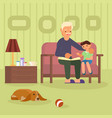granddad and grandson on sofa vector image