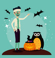 halloween card with zombie disguise and owl vector image