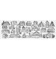 hand drawn buildings doodle set vector image