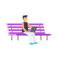 happy man sitting on lilac bench colorful poster vector image