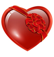 heart with ribbon bow vector image vector image