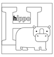 Hippo letter H coloring page vector image vector image
