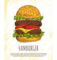 huge hamburger isolated on white background vector image vector image