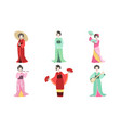 japanese girls in traditional clothes set asian vector image vector image